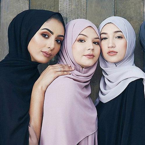 170*75cm Muslim Hijab Solid Chiffon Headscarf for Women Islamic Hijab Shawl