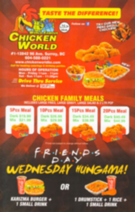Chicken World Menu, Halal Fried Chicken, Halal Chicken