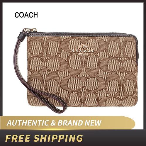 Coach Corner Zip Outlined Signature Canvas Wristlet F58033 Wallet