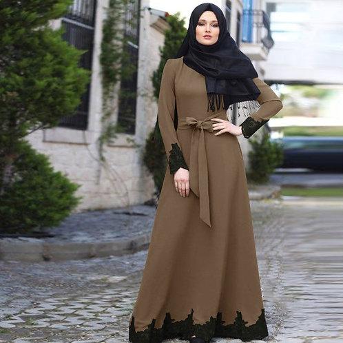 Arab Dubai Muslim Dress Elegant Kaftan Plus Size Abaya Turkish Robes Long Sleeve