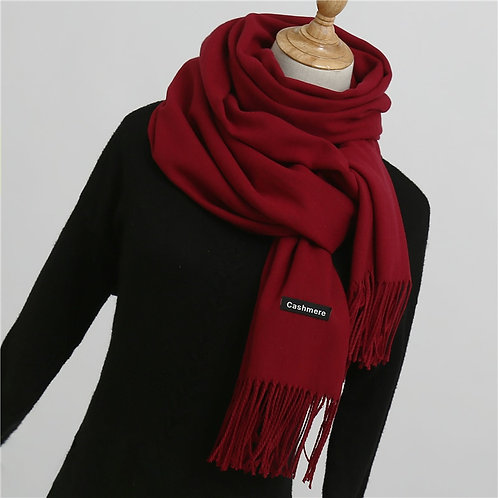 2020 Winter Scarf for Women Shawls and Wraps Fashion Solid Warmer Thick Cashmere