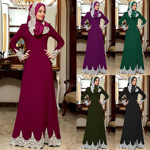 Lace Abaya Maxi Dress Cardigan Muslim Hijab Rope Turkish Saudi Arabia Dresses