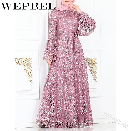 WEPBEL Women Dress Mesh Autumn Elegant Muslim Butterfly Sleeve Abaya Casual