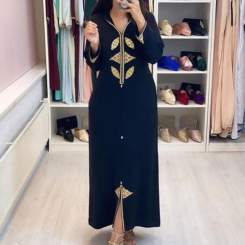 Dubai Hijab Print Elegant Women Dress Vintage Long Sleeve Muslim Abaya Robe