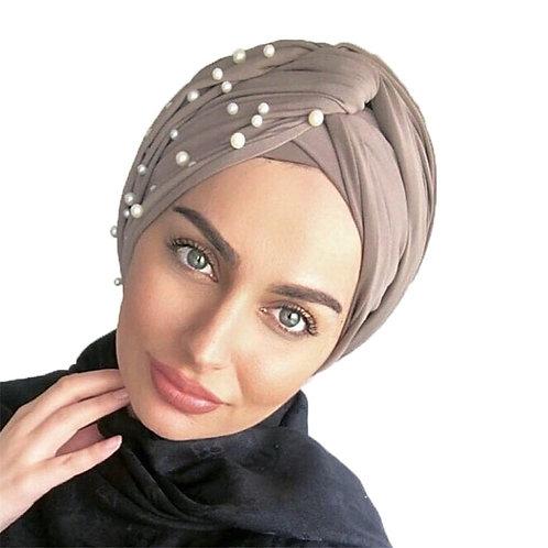 New Muslim Suede Turban Caps Twist Velvet Pearls Turban Bonnet Woman Hat Winter