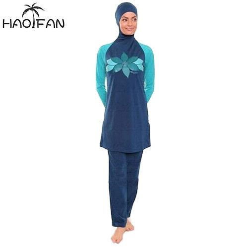 HAOFAN Floral Muslim Swimwear Full Cover Modest Islamic Swimming Suits Burkinis