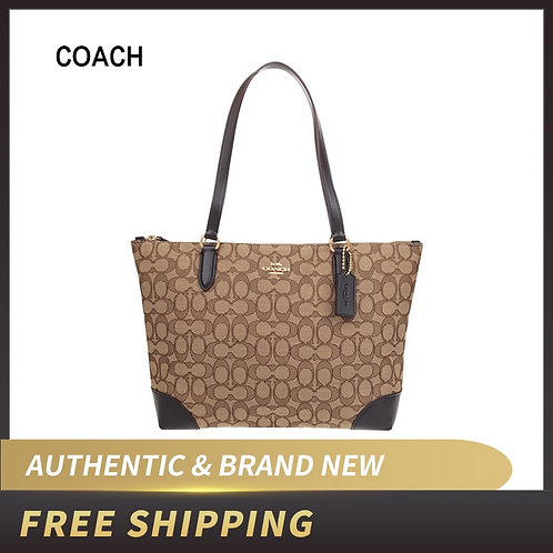 Coach F29958 Signature Jacquard Zip Tote Bag Purse