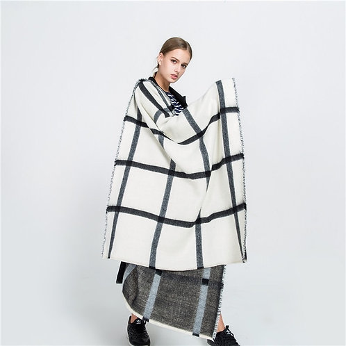 Autumn and Winter Black and White Double-Sided Scarf Beige Plaid Scarf  Shawl