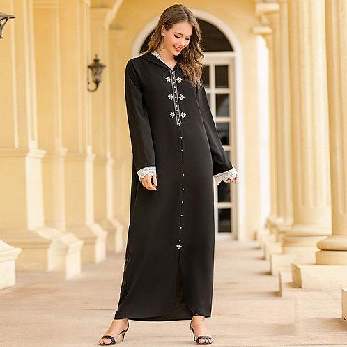 WEPBEL Women Moroccan Ins Women's Djellaba Muslim Lace Hooded Beading Rhinestone