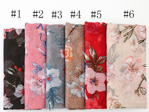 2020 New Fashion Women's Printed Voile Scarf Breathable Cotton Scarf Shawls