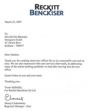 Appreciation for Designers Guild from Reckitt Benckiser
