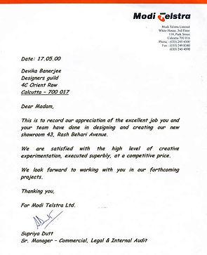 Modi Telstra appreciation for Designers Guild