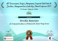 Professional excellence award certificate to Devika Banerjee