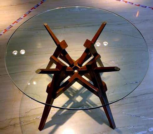 Center table from reclaimed burma teak