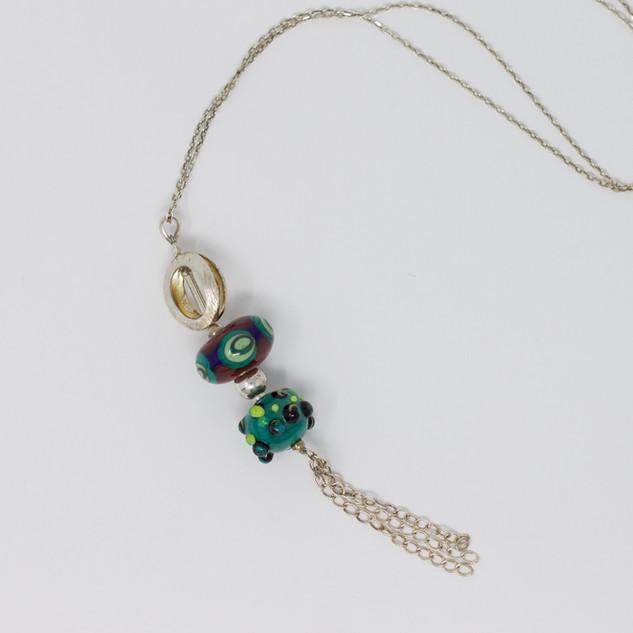 Sautoir, perles verre sodocalcique, chaine et perle argent.