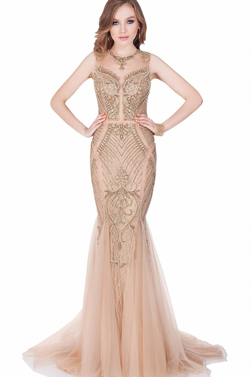 Terani Couture Bronze Nude Illusion Evening Gown Style 1621gl1886