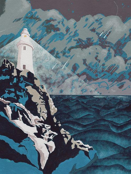 'Corbiere Lighthouse, Jersey' Original painting. Acrylic on paper 30 x 40cm.