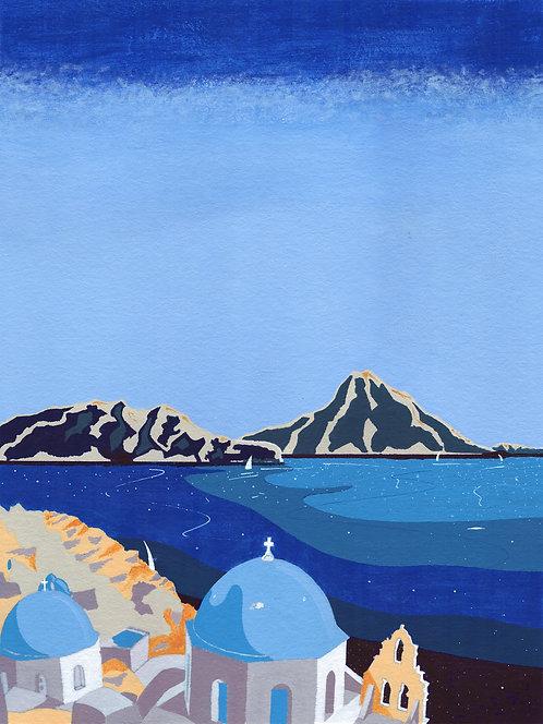 'Greek Islands I' Original painting. Acrylic on paper 30 x 40cm