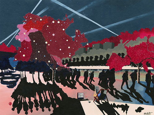 'Hyde Park News' Limited Edition Giclee Print 43cm x 57cm
