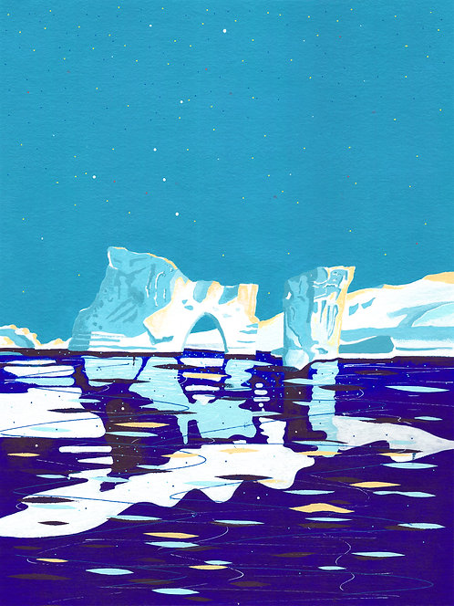 'Greenland Ice sheet III' Original painting. Acrylic on paper 30 x 40cm.