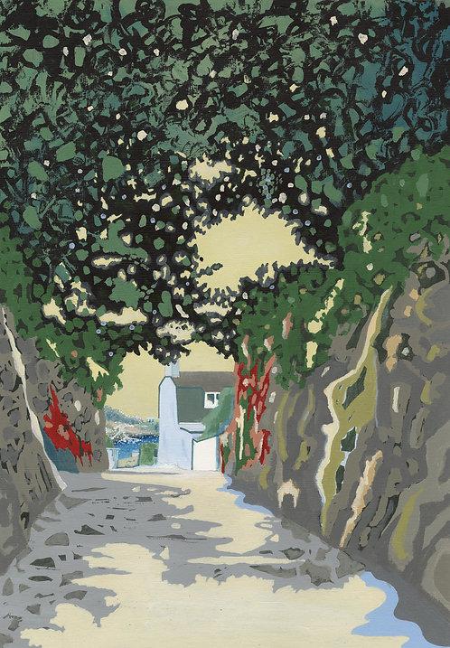 'Downhill to Rozel' Original painting. Acrylic on paper 30 x 40cm.
