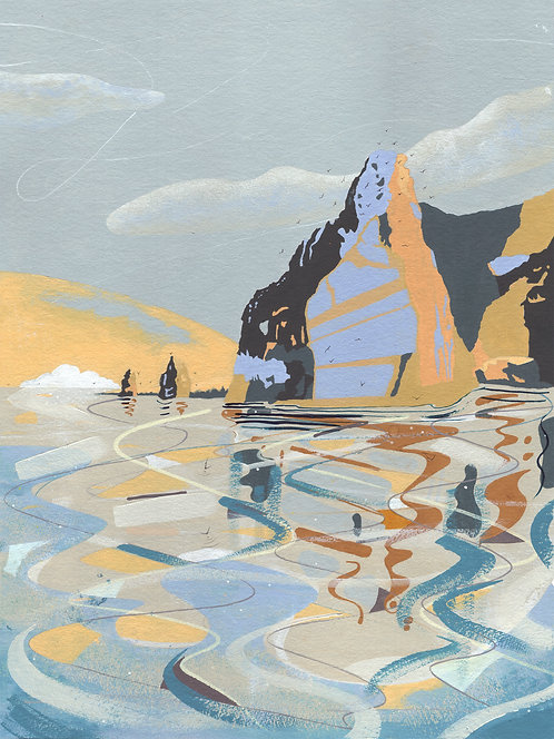 'Three Sisters, New Zealand' Original painting. Acrylic on paper 30 x 40cm.