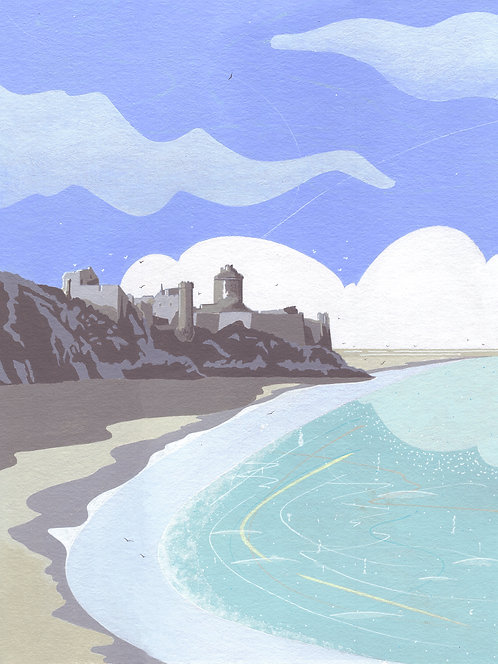 'Fort La Latte, Brittany' Original painting. Acrylic on paper 30 x 40cm.