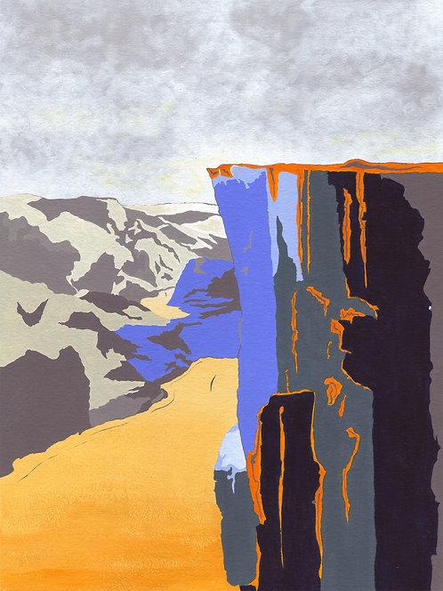 'Norwegian Peaks III' Original painting. Acrylic on paper 30 x 40cm.