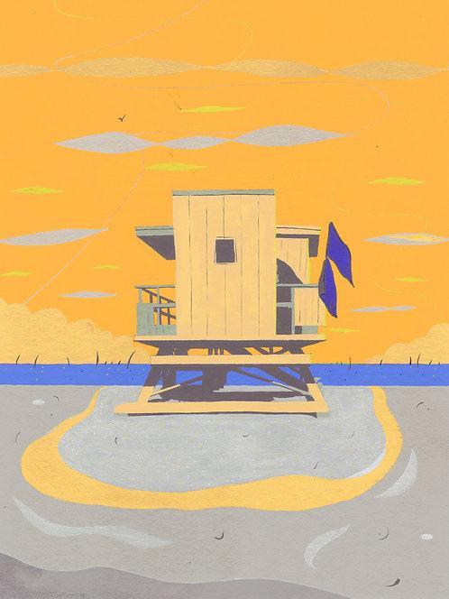 'Miami Beach Hut II' Original painting. Acrylic on paper 30 x 40cm