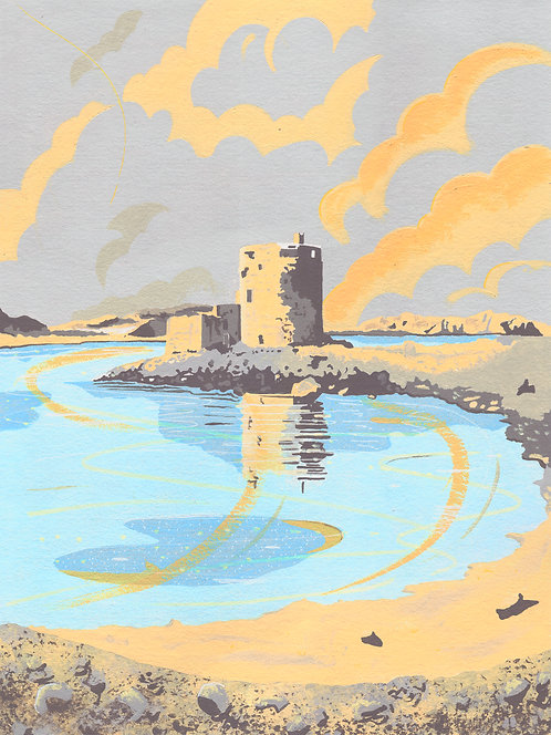 'Cronwell's Castle' Original painting. Acrylic on paper 30 x 40cm.