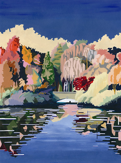 'Dulwich Park Pond' Original painting. Acrylic on paper 42 x 56cm.