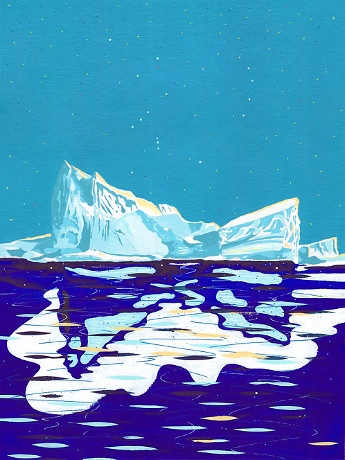 'Greenland Ice sheet I' Original painting. Acrylic on paper 30 x 40cm.