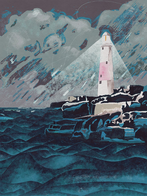 'Portland Bill' Original painting. Acrylic on paper 30 x 40cm.
