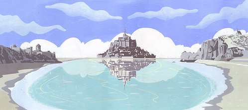 'Normandy and Brittany' Limited Edition Giclee Print 90cm x 40cm