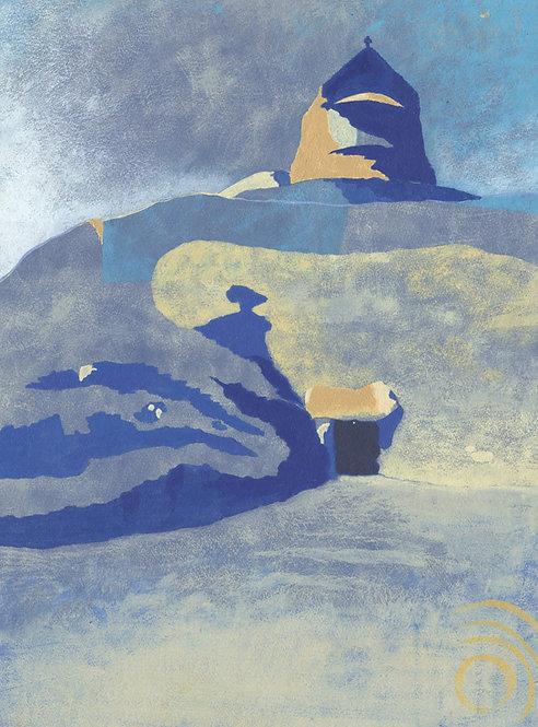 'La Hougue Bie' Original painting. Acrylic on paper 30 x 40cm.