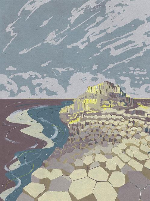 'Giant's Causeway, Antrim' Original painting. Acrylic on paper 30 x 40cm.