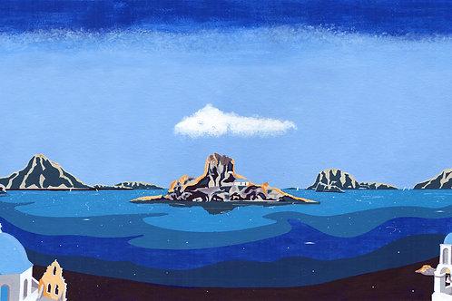 'Greek Islands' Limited Edition Giclee Print 90cm x 40cm