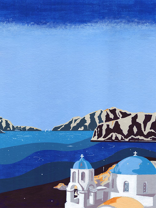 'Greek Islands III' Original painting. Acrylic on paper 30 x 40cm.