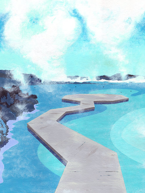 'Blue Lagoon I, Iceland' Original painting. Acrylic on paper 30 x 40cm.
