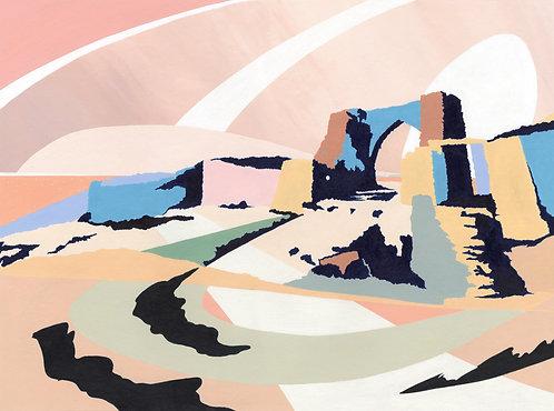 'Grosnez Castle' Limited Edition Giclee Print 43cm x 57cm