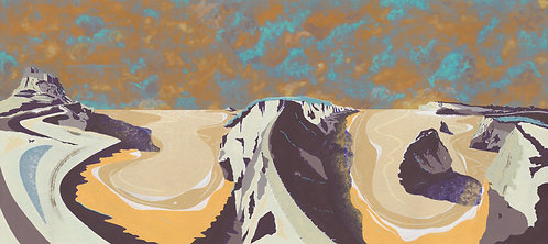 'British Isles IV' Limited Edition Giclee Print 90cm x 40cm