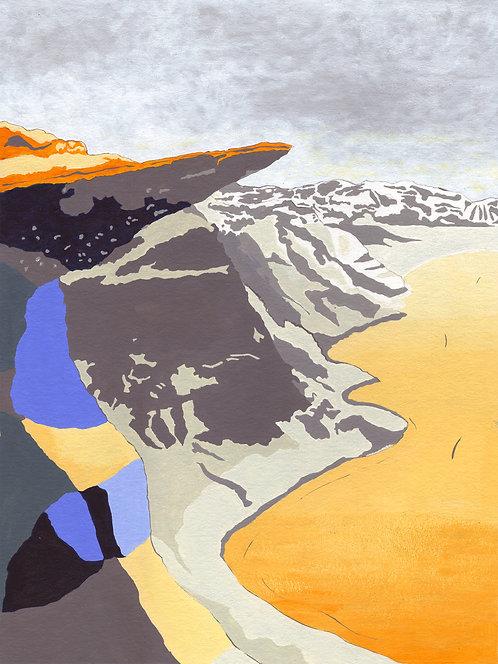 'Norwegian Peaks I' Original painting. Acrylic on paper 30 x 40cm.