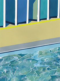 A watery painting of Tooting Bec Lido in London. Swirling and moving water against the rigid human.