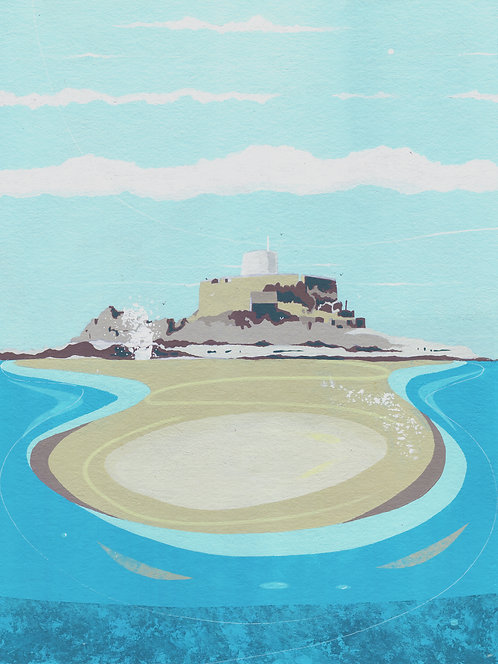 'Fort Grey, Guernsey' Original painting. Acrylic on paper 30 x 40cm.