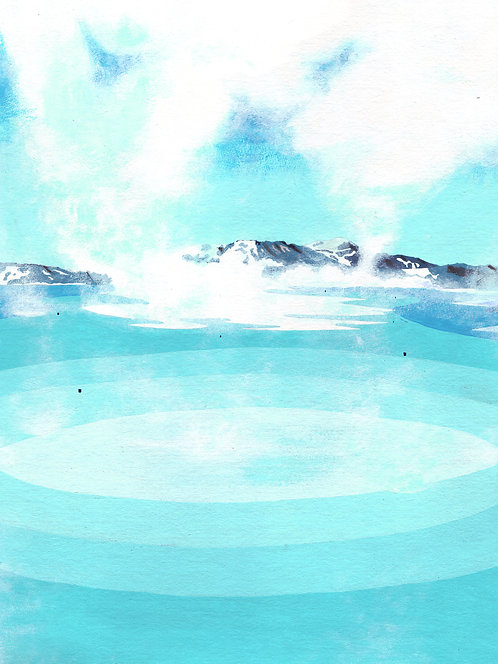 'Blue Lagoon II, Iceland' Original painting. Acrylic on paper 30 x 40cm.