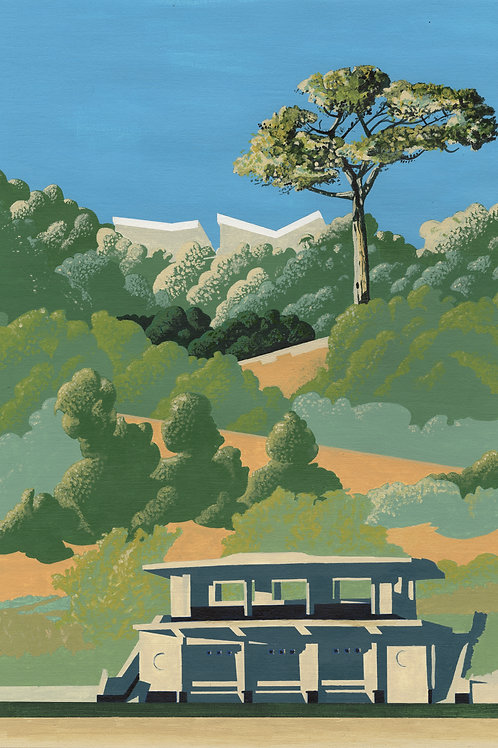 'Lower Park Bus Stop' Limited Edition Giclee Print 30cm x 42.5cm