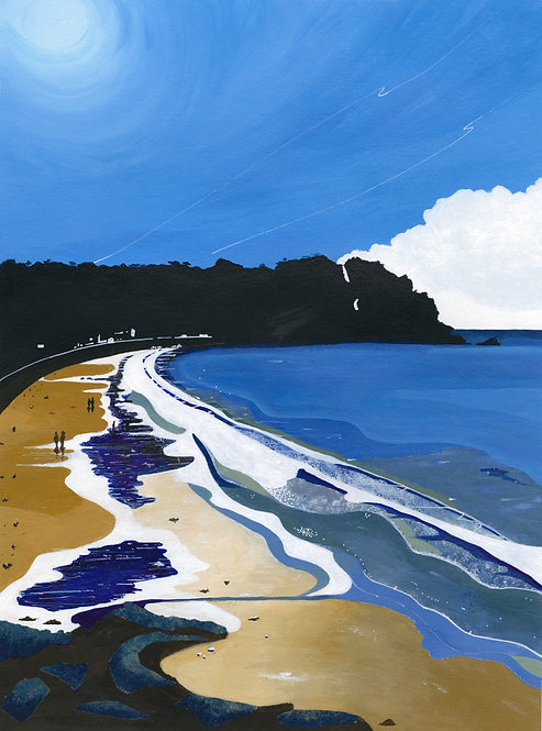 'Ouaisne Bay' Original painting. Acrylic on paper 30 x 40cm.