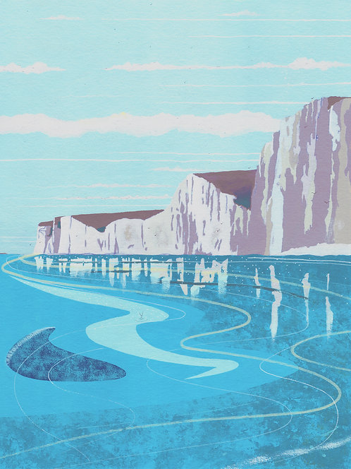 'White Cliffs of Dover' Original painting. Acrylic on paper 30 x 40cm.