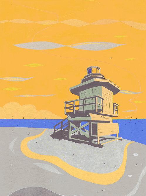 'Miami Beach Hut III' Limited Edition Giclee Print 30cm x 40cm