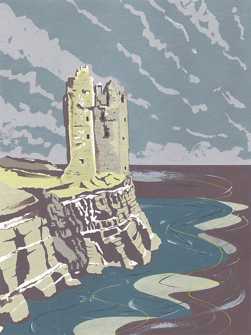 'Keiss Castle, Caithness' Original painting. Acrylic on paper 30 x 40cm.